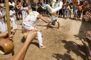 The capoeira fight or jogo in the roda